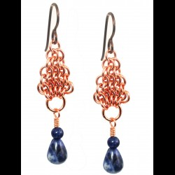 Copper Chainmail Pear Earrings