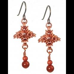 Copper Quad Byzantine Earrings