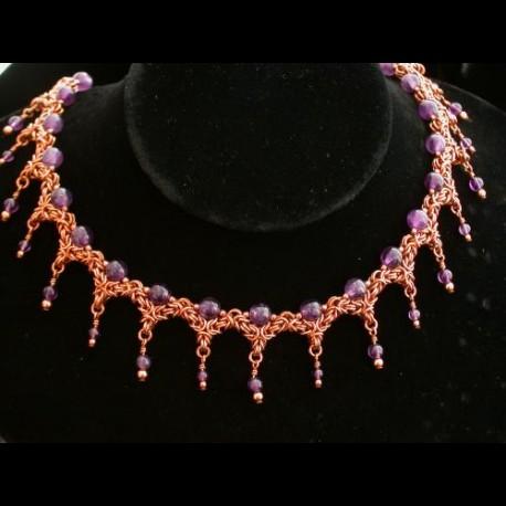 Copper Byzantine Queens Collar Necklace Amethyst
