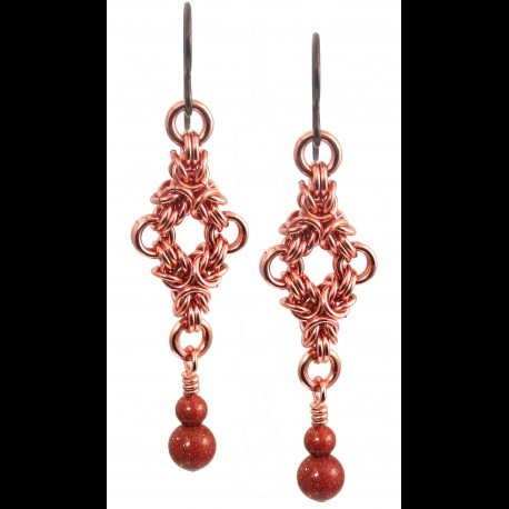 Copper Twin Triangle Earrings