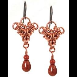 Copper Tri Crown Earrings